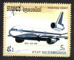 Sellos del Mundo : Asia : Camboya : McDonnell Douglas DC-10-30