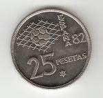 monedas del Mundo : Europa : España :  25 ptas Juan Carlos I 1980 (*1981) Mundial de Fútbol EBC
