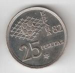 monedas del Mundo : Europa : España :  25 ptas Juan Carlos I 1980 (*1982) Mundial de Fútbol EBC