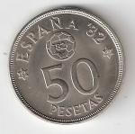 monedas del Mundo : Europa : España :  50 ptas Juan Carlos I 1980 (*1980) Mundial de Fútbol EBC