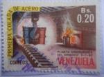 Sellos de America - Venezuela -  Planta Siderurgica del Orinoco - Primera Colada de Acero