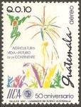 Stamps Guatemala -  50  ANIVERSARIO  DEL  INSTITUTO  INTERAMERICANO  DE  COOPERACIÒN  AGRÌCOLA