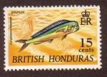 Stamps : America : Belize :  Coryphaena hippurus (Lampuga)