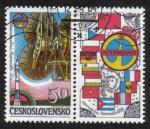 Sellos del Mundo : Europa : Checoslovaquia : Intercosmos II + Viñeta
