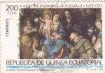 Stamps Equatorial Guinea -  LA VIRGEN Y EL NIÑO ENTRE LAS VIRTUDES Y SANTOS