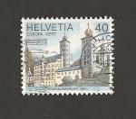 Stamps Switzerland -  Palacio Stockalper en Brig