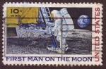 Stamps United States -  Primer hombre en la Luna