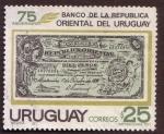 Stamps Uruguay -  75 Aniversario Bco. Oriental del Uruguay