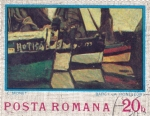 Sellos de Europa - Rumania -  Pintura C. Monet- Barcos