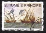Sellos del Mundo : Africa : Santo_Tomé_y_Principe : PINTURA DE LA CARAVELA  DE LA MARINA MERCANTE DEL SIGLO XVI