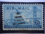 Stamps United States -  San Francisco-Oakland Bay Bridge and Boeing B377 Stratocruiser - Puente de la Bahia de San Francisco