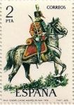 Stamps of the world : Spain :  Teniente Coronel Húsares de Pavía. 1909