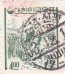 Stamps : Asia : South_Korea :  RECOLECTOR DE ARROZ