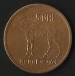 monedas de Europa - Noruega -  ALCE - OLAV V.R NORUEGA 1964 (FRONTAL)