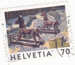 Stamps Switzerland -  CABALLITOS DE MADERA
