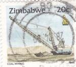 Sellos de Africa - Zimbabwe -  EXCAVADORA