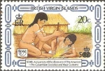 Stamps America - Virgin Islands -  SOCIEDADES  PRE-COLOMBINAS  Y  SUS  COSTUMBRES.  HACIENDO  FUEGO.