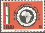 Stamps Ghana -  CUMBRE  ACCRA  1965.  MAPA  DE  AFRICA  Y  BANDERAS.