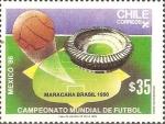 Sellos de America - Chile -  CAMPEONATO  MUNDIAL  DE  FUTBOL  MÈXICO  '86.  ESTADIO  MARACANÀ.  BRAZIL,  1950
