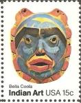 Sellos de America - Estados Unidos -  ARTE  POPULAR  AMERICANO.  MÀSCARA,  BELLA  COOLA  TRIBU.
