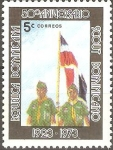 Stamps Dominican Republic -  50th  BOYS  SCOUTS.  JÒVENES  EXPLORADORES  Y  BANDERA  NACIONAL.