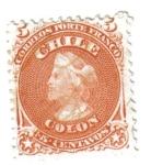 Stamps : America : Chile :  Colón. Primera emisión dentada.