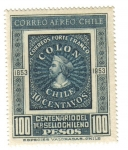 Stamps America - Chile -  Colón:Centenario Primer Sello Chileno (1853-1953)