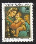 Sellos del Mundo : Asia : Vietnam : Virgen Madre sentada en la silla