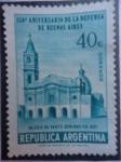 Sellos de America - Argentina -  150º Aniv. de la Defensa de Buenos Aires - Iglesia de Santo Domingo en 1807