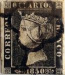 Sellos del Mundo : Europa : España : Scott#1 6 cuartos 1850