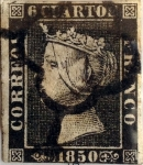 Stamps : Europe : Spain :  Scott#1 6 cuartos 1850