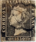 Stamps : Europe : Spain :  Scott#1 6 cuartos 1850