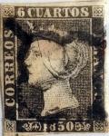 Stamps : Europe : Spain :  Scott#1a 6 cuartos 1850