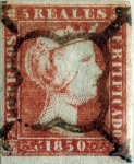 Stamps : Europe : Spain :  Scott#3 5 reales 1850