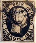 Stamps Europe - Spain -  Scott#6 6 cuartos 1851