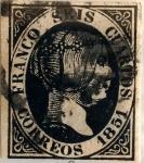 Stamps : Europe : Spain :  Scott#6a 6 cuartos1851