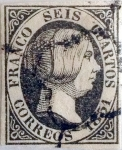 Stamps : Europe : Spain :  Scott#6 6 cuartos 1851