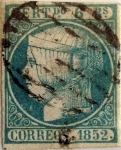 Stamps : Europe : Spain :  Scott#16 6 reales 1852