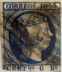 Stamps : Europe : Spain :  Scott#23 6 reales 1853