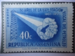Stamps Argentina -  50 Añosde la Explotación Fiscal de Petroleo 1907-1957