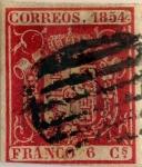 Sellos de Europa - España -  Scott#26 6 cuartos 1854