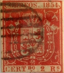 Stamps : Europe : Spain :  Scott#28 2 reales 1854