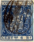 Stamps : Europe : Spain :  Scott#30 6 reales 1854