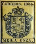 Stamps : Europe : Spain :  Scott#O1 1/2 onza 1854