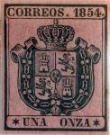 Stamps : Europe : Spain :  Scott#O2 1 onza 1854