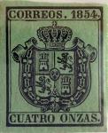 Stamps : Europe : Spain :  Scott#O3 4 onzas 1854
