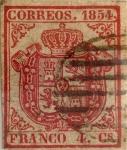 Stamps : Europe : Spain :  Scott#25 4 cuartos 1854