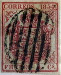 Stamps : Europe : Spain :  Scott#25a 4 cuartos 1854