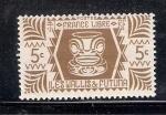 Sellos de Oceania - Wallis y Futuna -  Francia Libre, vasija con rostro