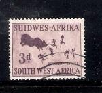 Stamps Africa - Namibia -  Pintura rupestre, caza del rinoceronte